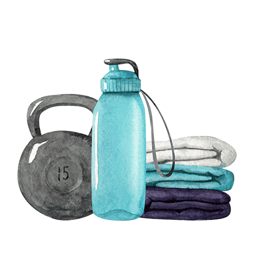 Watercolour image of a kettlebell, water bottle and towels