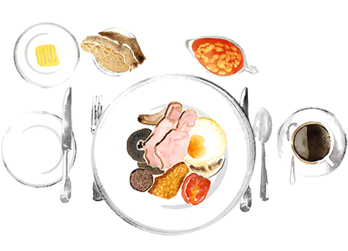 Watercolour image of full Scottish breakfast and cup of black coffee