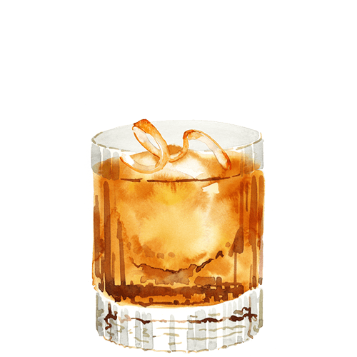 A watercolour of a whisky cocktail