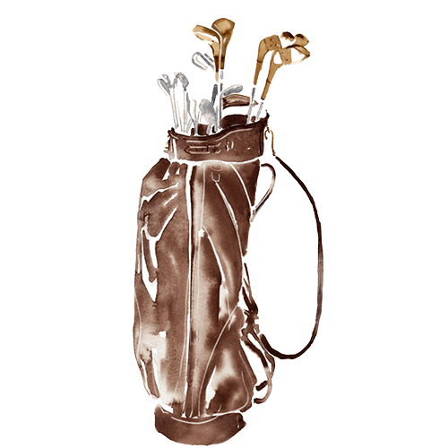 Watercolour of a golf bag