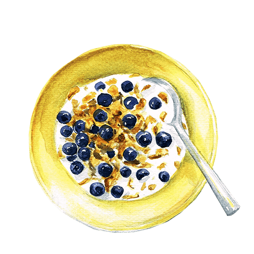 watercolour image of a bowl of baby food