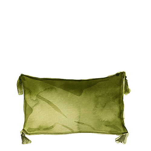 Watercolour image of a green pillow