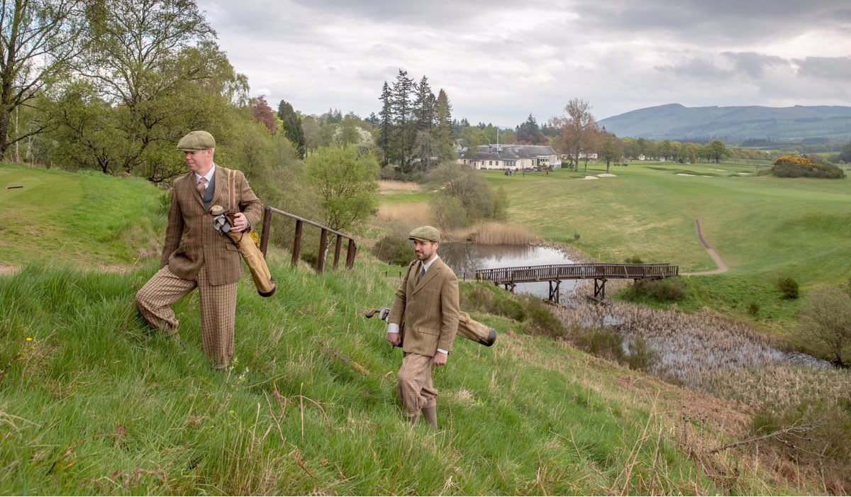 A replica of the above black and white photo with modern day Gleneagles staff dressed in vintage golf attire