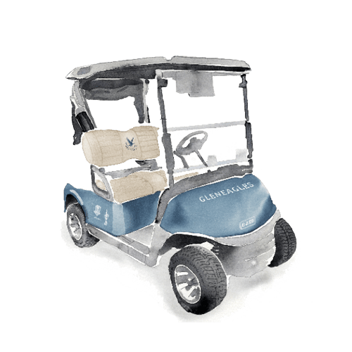 A watercolour of a golf cart