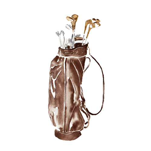A watercolour of a golf bag