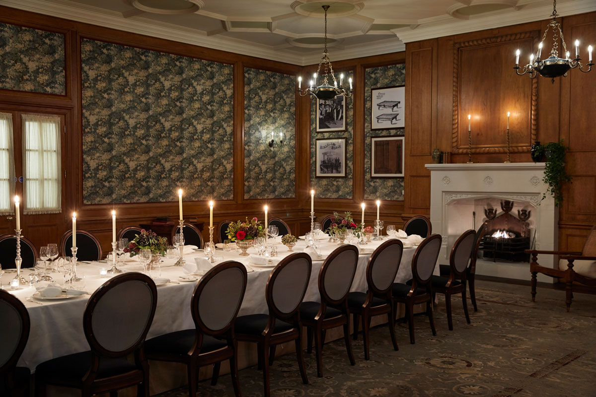 The Billiard Room at Gleneagles set for a banquet under candle light