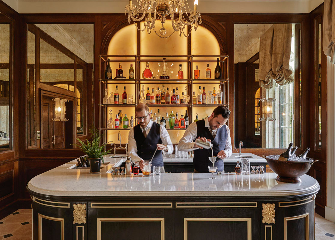 Two barmen during drinks in the pantry at Gleneagles