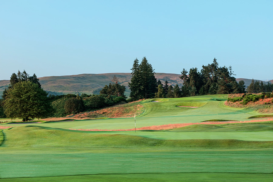 A view of the par 4, first hole with the green of the par 4, 18th hole in the foreground on the Kings Course at Gleneagles
