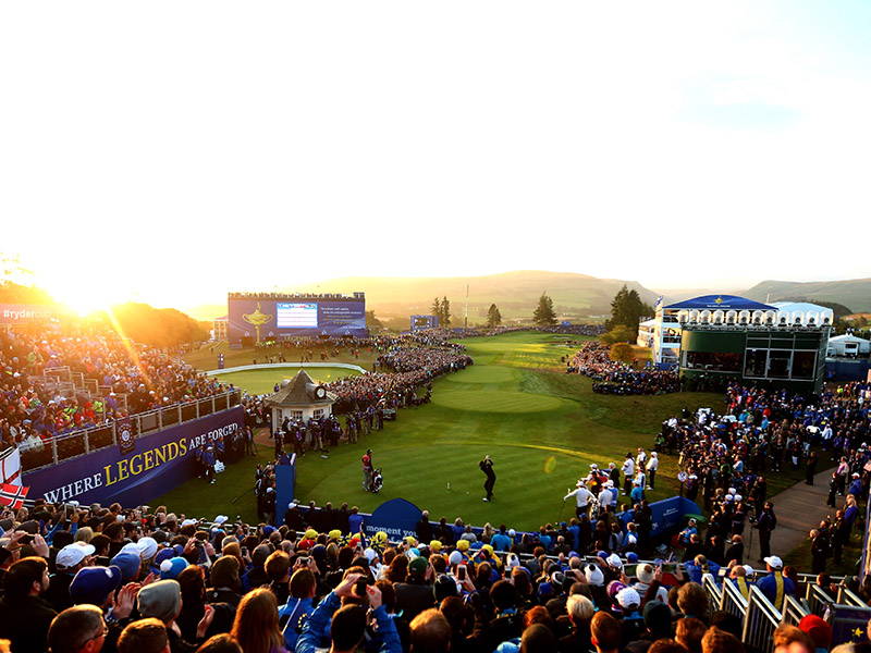 The sun shines towards the camera over the first tee of thr PGA Centeneary course during the Ryder Cup 2014