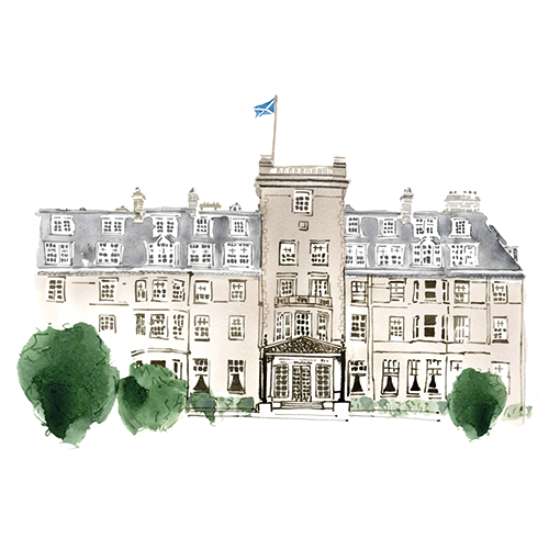 Watercolour image of Gleneagles Hotel