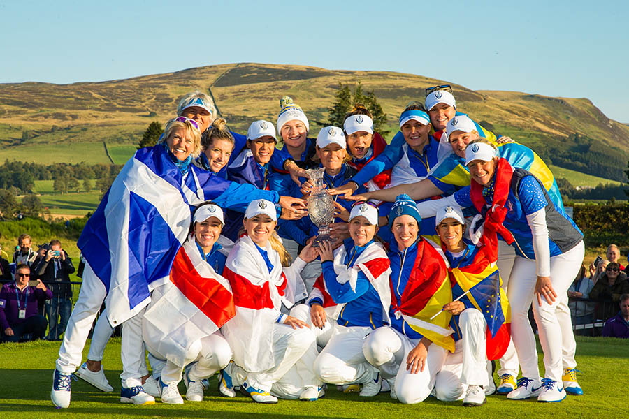 The European Team with The Solheim Cup after winning at Gleneagles in 2019