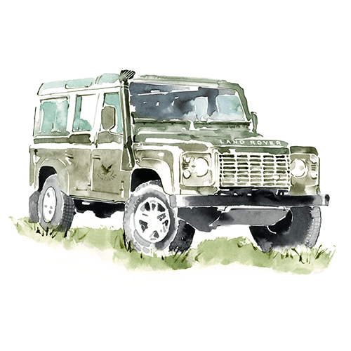 Watercolour image of a Land Rover defender
