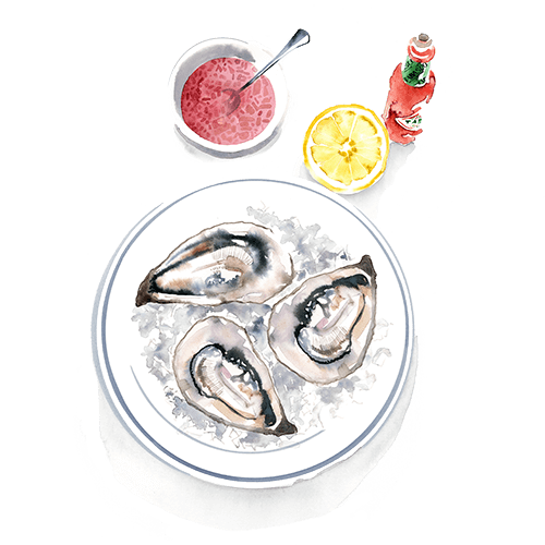 Water colour image of oysters on a plate