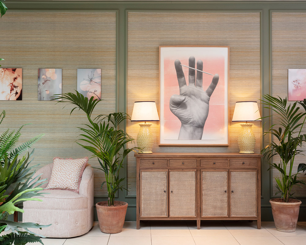 Calming palms and a comfotable chair at the spa at Gleneagles